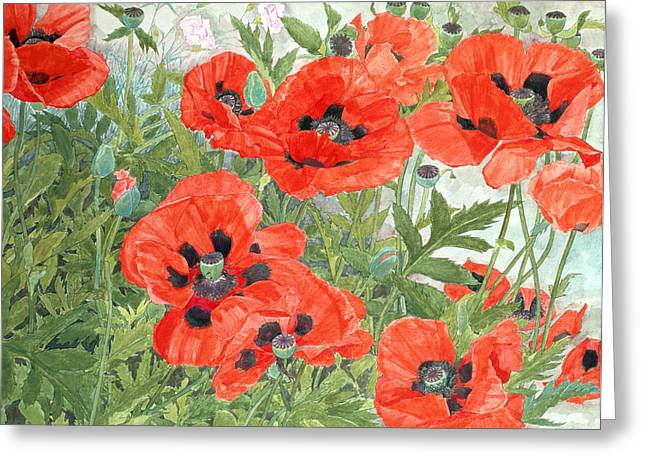 Beauty In Nature Paintings Greeting Cards - Poppies Greeting Card by Linda Benton