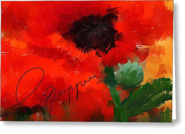 Floral Art Paintings Greeting Cards - Poppies Greeting Card by Lourry Legarde