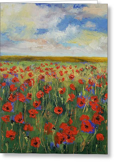 Meditative Greeting Cards - Poppies Greeting Card by Michael Creese