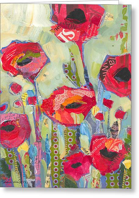 Flower Art Prints Greeting Cards - Poppies No 5 Greeting Card by Shelli Walters