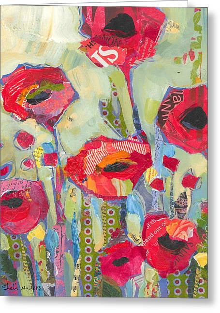Flowers Paintings Greeting Cards - Poppies No 5 Greeting Card by Shelli Walters