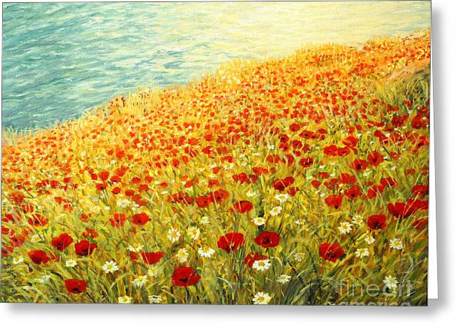 Ocean Images Greeting Cards - Poppies of Kaliakra II Greeting Card by Kiril Stanchev