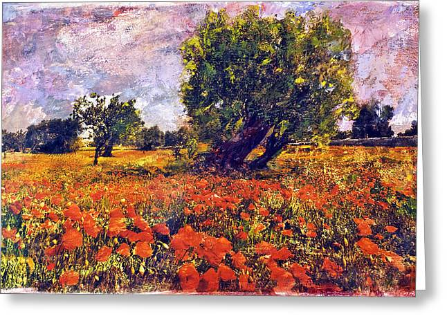 Poppies Of Puglia Greeting Card by Steven Boone