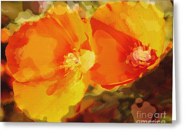 Poppies on Fire Greeting Card by Artist and Photographer Laura Wrede