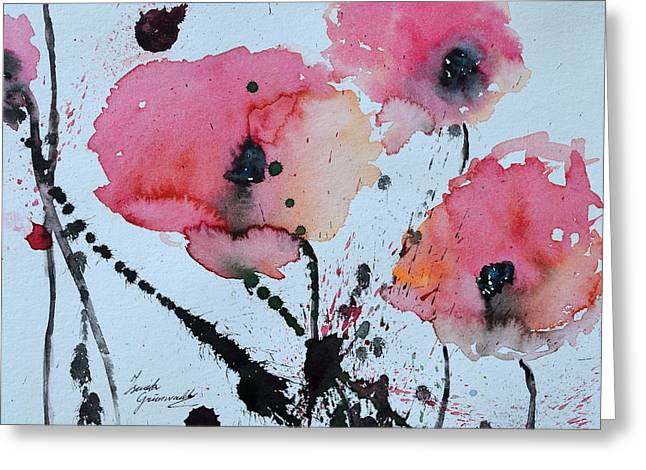 Ismeta Paintings Greeting Cards - Poppies- painting Greeting Card by Ismeta Gruenwald