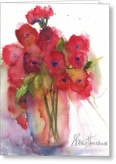 Wild Orchards Paintings Greeting Cards - Poppies Greeting Card by Sherry Harradence