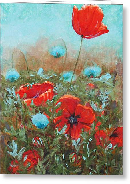 Glass Buoys Greeting Cards - Poppies Greeting Card by Toni Wolf