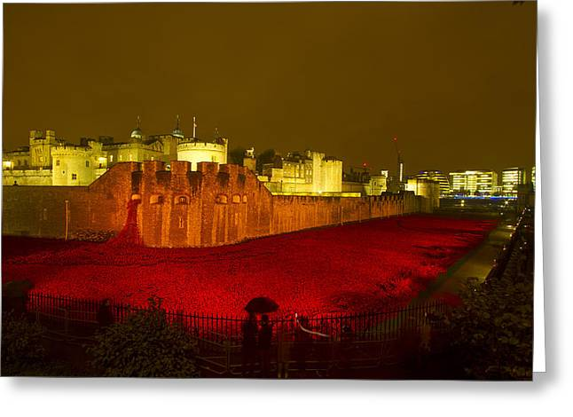 Poppies Tower Of London Night Greeting Card by David French