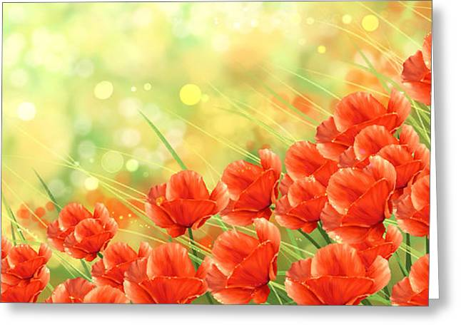 Poppies Greeting Card by Veronica Minozzi