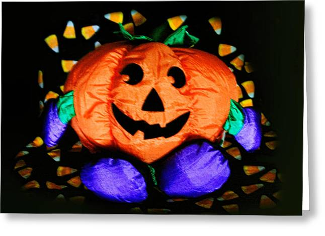 Holloween Greeting Cards - Poppin Halloween Pumpkin Greeting Card by Linda Phelps