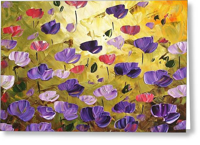 Jolina Anthony Greeting Cards - Poppis In Purple Greeting Card by Jolina Anthony