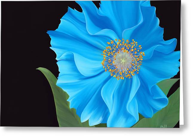 Blue Flowers Pastels Greeting Cards - Poppy 2 Greeting Card by Laura Bell