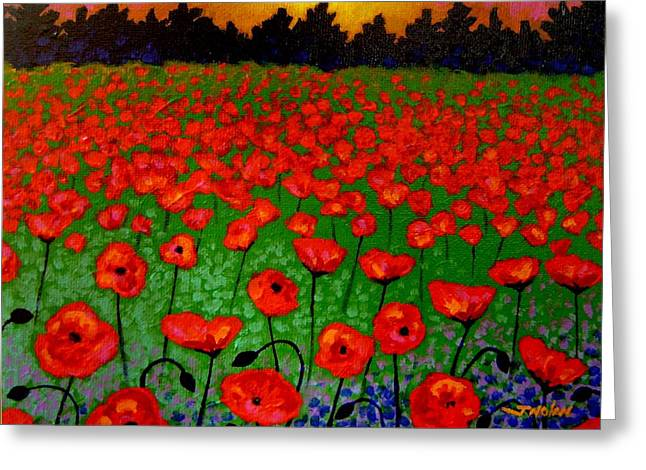 Landscape Posters Greeting Cards - Poppy Carpet  Greeting Card by John  Nolan