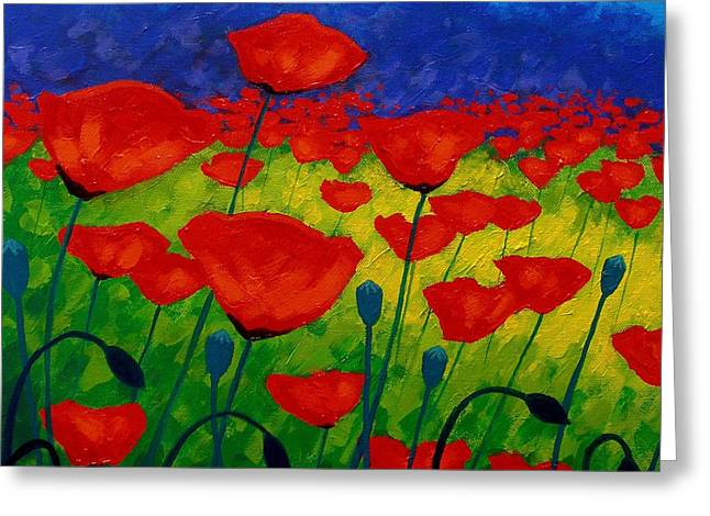 Yellow Paintings Greeting Cards - Poppy Corner II Greeting Card by John  Nolan