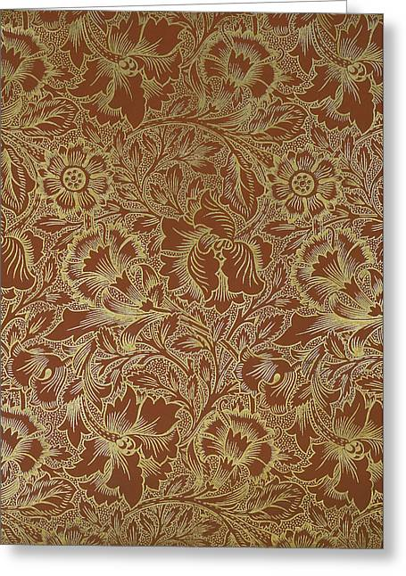 Print Tapestries - Textiles Greeting Cards - Poppy Design 1880 Greeting Card by William Morris