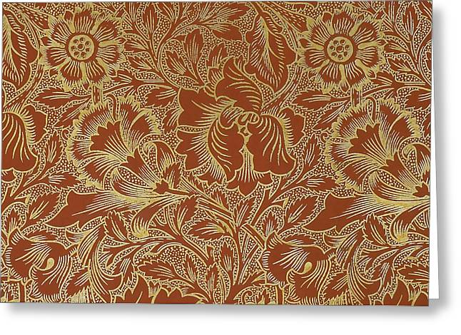 Print Tapestries - Textiles Greeting Cards - Poppy Design Greeting Card by William Morris