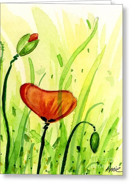 Anniesdoodlebugz Greeting Cards - Poppy Field 2 of 2 Greeting Card by Annie Troe