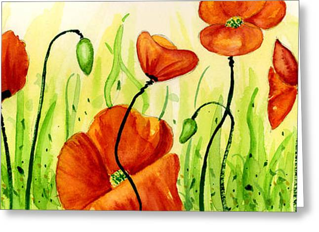 Ann Paintings Greeting Cards - Poppy Field Greeting Card by Annie Troe