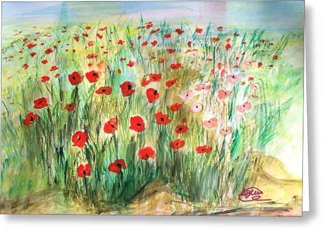 Flower Jewelry Greeting Cards - Poppy field Greeting Card by Asuncion Purnell