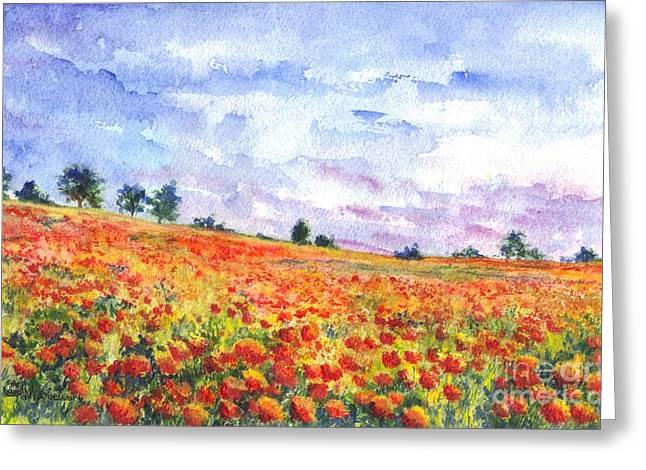 Landscape Framed Prints Greeting Cards - Poppy Field Greeting Card by Carol Wisniewski