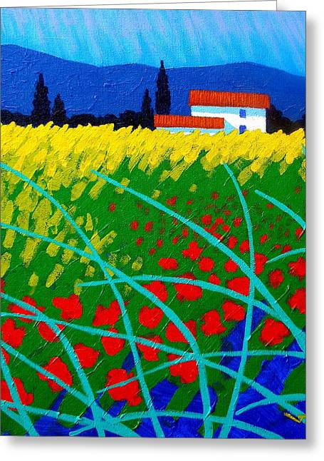 Cottage Print Greeting Cards - Poppy Field France Greeting Card by John  Nolan