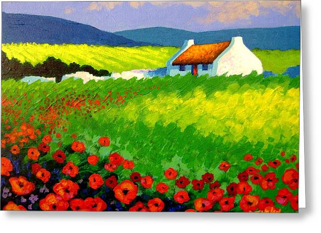 Restaurant Canvases Greeting Cards - Poppy Field - Ireland Greeting Card by John  Nolan