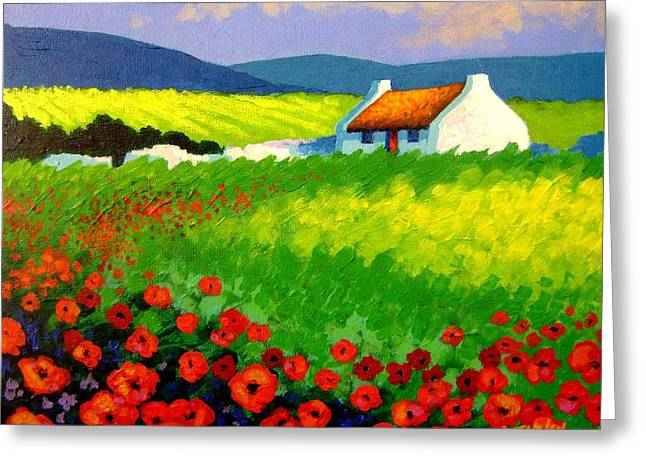 Flowers Posters Greeting Cards - Poppy Field - Ireland Greeting Card by John  Nolan