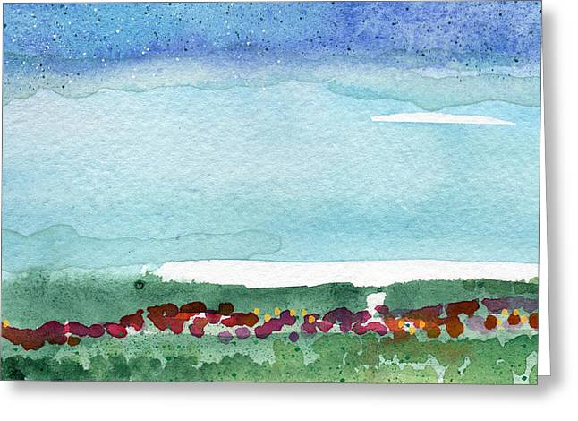 Best Sellers -  - Reserve Greeting Cards - Poppy Field- landscape painting Greeting Card by Linda Woods
