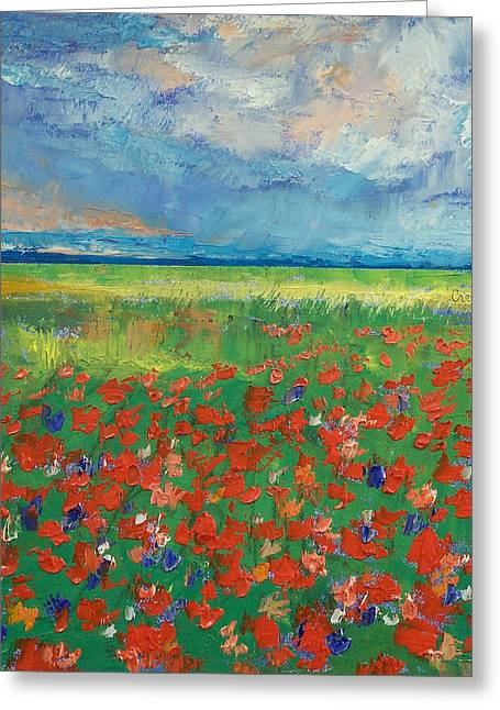 Campo Greeting Cards - Poppy Field Greeting Card by Michael Creese