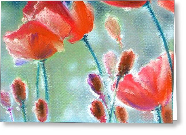 Salmon Paintings Greeting Cards - Poppy Field Greeting Card by Natasha Denger