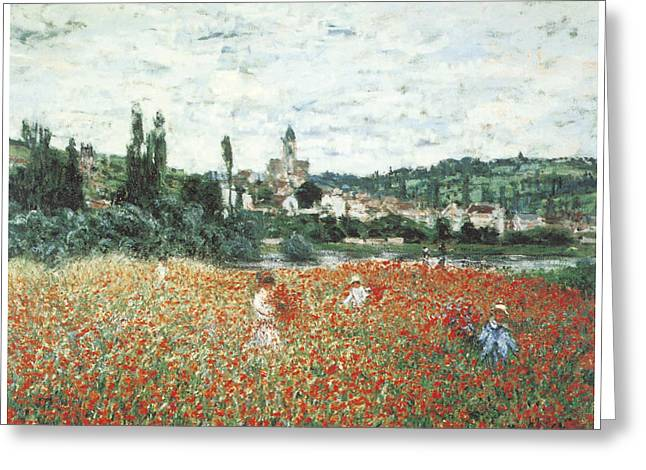 Vetheuil Greeting Cards - Poppy Field Near Vetheuil Greeting Card by Claude Monet