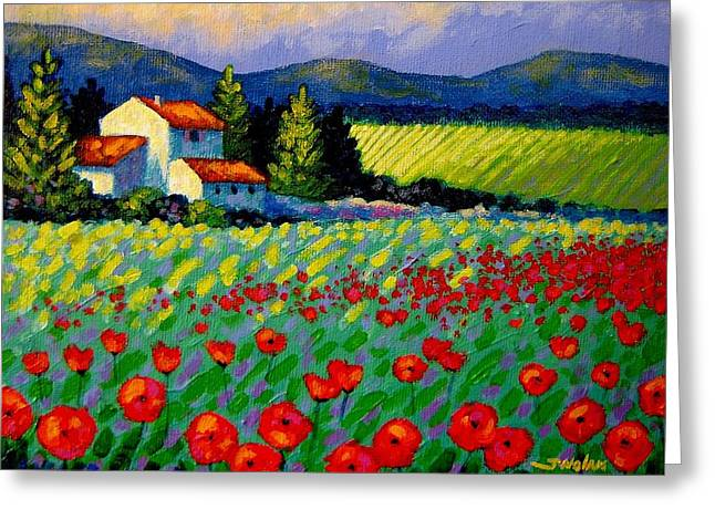 Landscape Framed Prints Greeting Cards - Poppy Field - Provence Greeting Card by John  Nolan