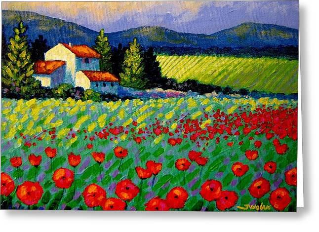 Poppy Field - Provence Greeting Card by John  Nolan