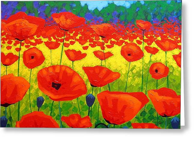 Decorative Art Greeting Cards - Poppy Field V Greeting Card by John  Nolan