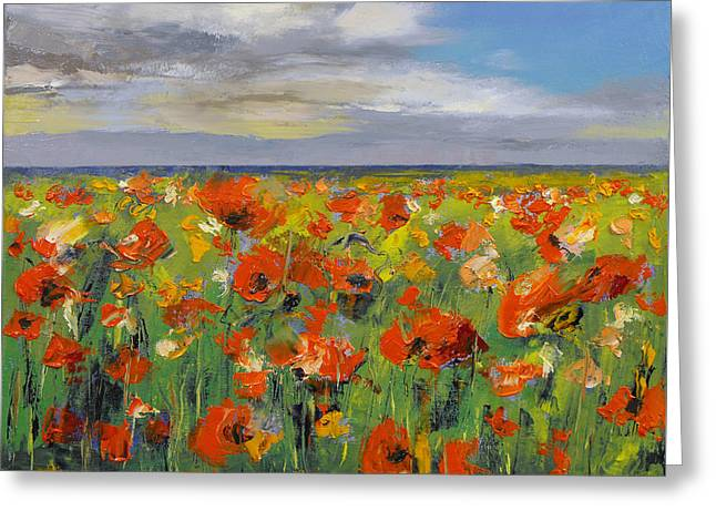 Campo Greeting Cards - Poppy Field with Storm Clouds Greeting Card by Michael Creese