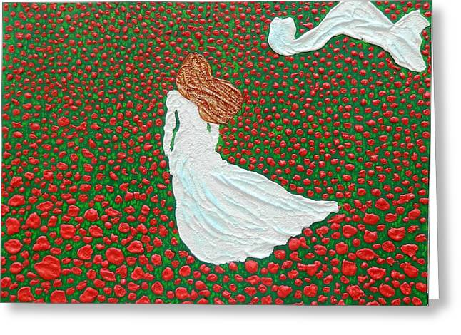 Contemporary Reliefs Greeting Cards - Poppy Fields Forever Greeting Card by Liza Wheeler