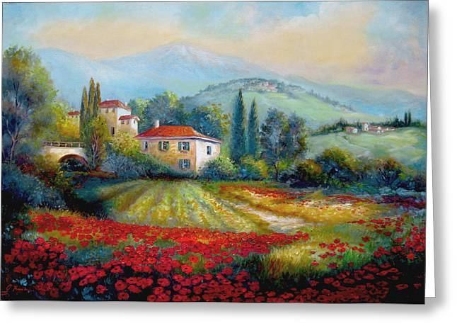 Village Scenes Greeting Cards - Poppy fields of Italy Greeting Card by Gina Femrite
