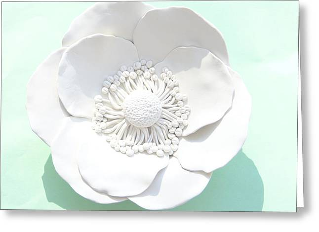 Homes Sculptures Greeting Cards - Poppy Flower Wall Sculpture - White Greeting Card by Lenka Kasprisin