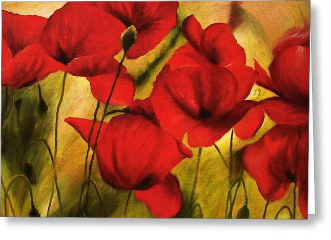 Green And Yellow Greeting Cards - Poppy Flowers At Dusk Greeting Card by Georgiana Romanovna