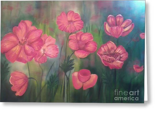 Phthalo Blue Greeting Cards - Poppy flowers Greeting Card by Ordy Duker