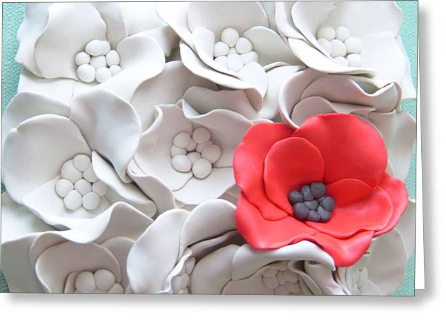 White Ceramics Greeting Cards - Poppy Flowers Wall Tile - Red Poppy Greeting Card by Lenka Kasprisin