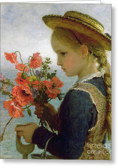 Innocence Paintings Greeting Cards - Poppy Girl Greeting Card by Karl Wilhelm Friedrich Bauerle