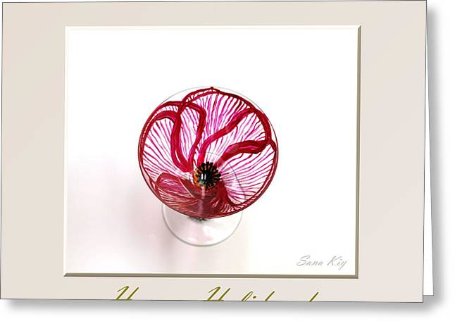 Collection Glass Art Greeting Cards - Poppy. Happy Holidays Greeting Card by Oksana Semenchenko