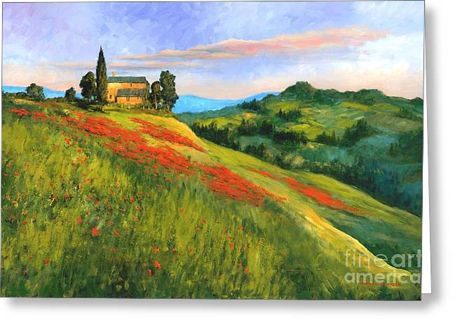 Tuscan Sunset Greeting Cards - Poppy Hill Greeting Card by Michael Swanson