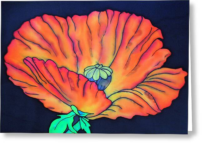 Orange Tapestries - Textiles Greeting Cards - Poppy I Greeting Card by Ursula Schroter
