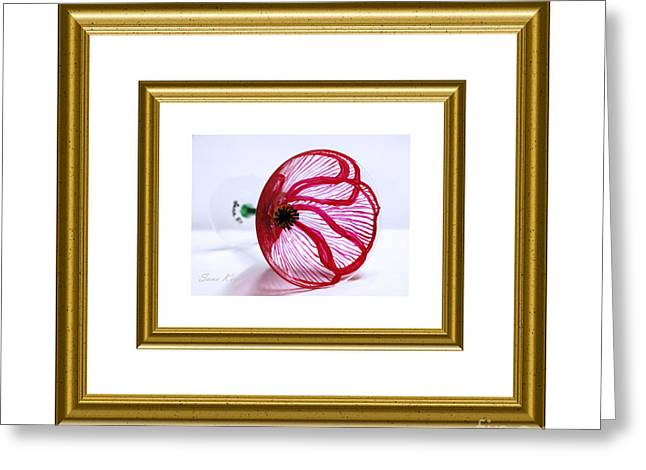 Collection Glass Art Greeting Cards - Poppy in white and gold frame Greeting Card by Oksana Semenchenko