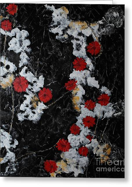Grounding Greeting Cards - Poppy Jasper Stone Painting 2 Greeting Card by Barbara Griffin