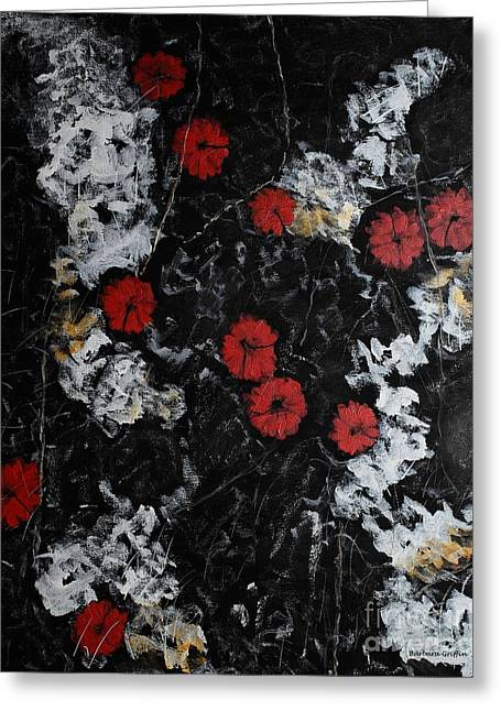 Grounding Greeting Cards - Poppy Jasper Stone Painting Greeting Card by Barbara Griffin