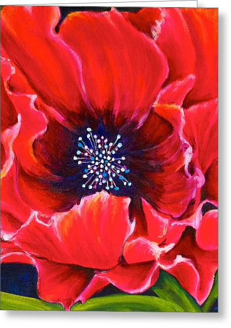 Bucci Paintings Greeting Cards - Poppy Love 2 Greeting Card by Debra Bucci