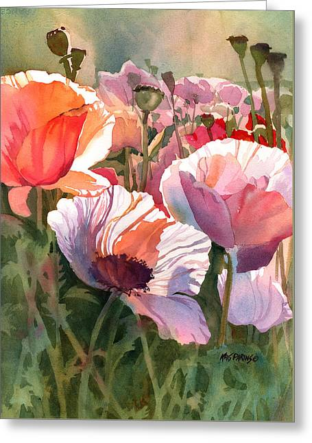 Flower Blossom Greeting Cards - Poppy Madness Greeting Card by Kris Parins